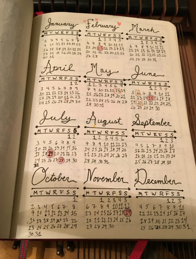 Bullet Journal Year Calendar : Upping my bullet journal game the easy way smelling