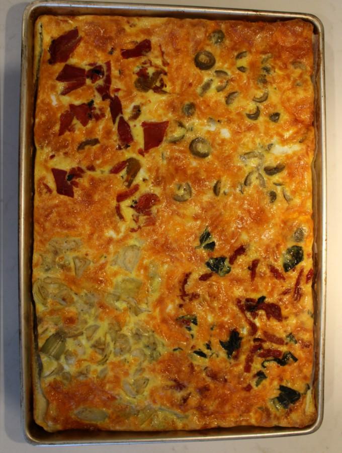 Quattro Stagioni Sheet Pan Frittata [Vegetarian, Low-Carb, Keto-Friendly]