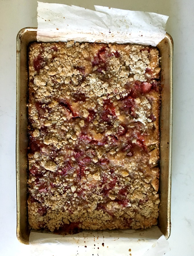 Strawberry Rhubarb Snacking Cake With Candied Ginger Smelling